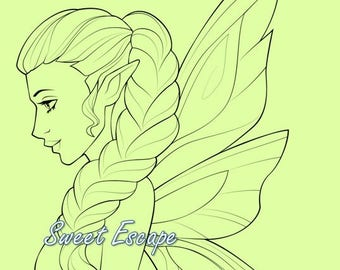 Lady Fairy Digital Stamp