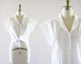 ON SALE white embroidered eyelet blouse