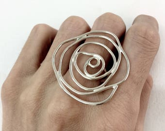 big silver statement ring big silver rose ring silver flower ring big silver ring shiny finish rough finish