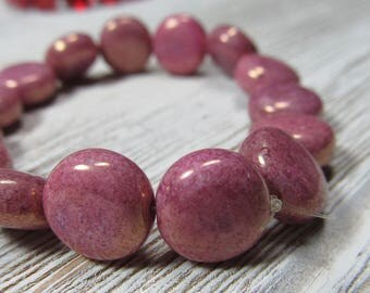 Czech Glass Beads 10mm Opaque Puffed Gold Speckled Pink Smooth Coin Beads - 15 Pcs.