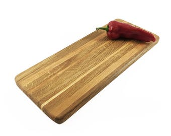"""Long Cheese Board - Optional Engraving -  Oak and Cherry Wooden Cutting Board - Long Bread Board - Fall Entertaining - 17"""" x 7"""" x 3/4"""""""