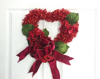 Valentine Heart Wreath, Red Wreath, Valentines Day, Floral Wreath, Wedding Wreath, Front Door Wreath