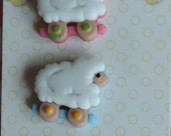 LD SALE Baby Buttons Sheep on Wheels Baby Hugs Collection by Buttons Galore Carded set of 3