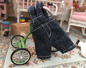 Miniature Overalls, Child Size Denim Overalls, Mini Bibs, Dollhouse Miniature, 1:12 Scale, Dollhouse Clothes, Dollhouse Accessory, Decor