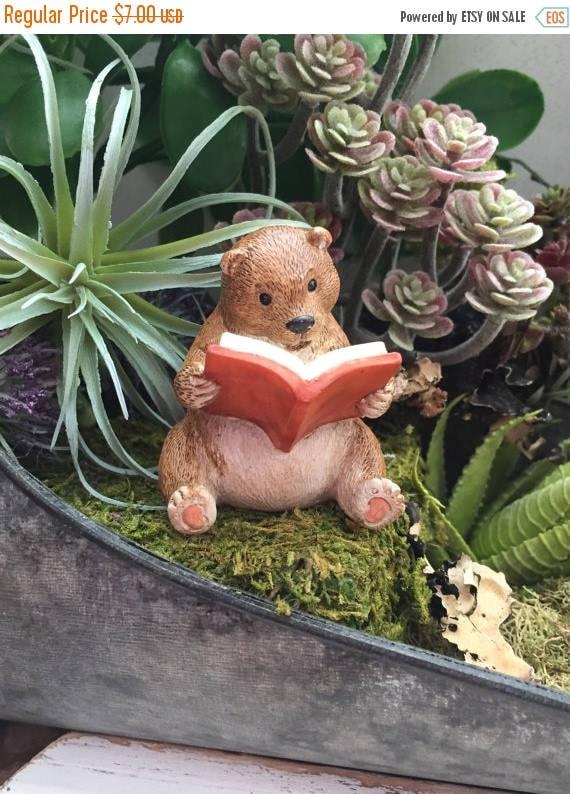 SALE Bear Figurine, Bear Reading A Book, Fairy Garden Accessory, Miniature Home & Garden Decor, Topper, Shelf Sitter, Cute Bear Figurine