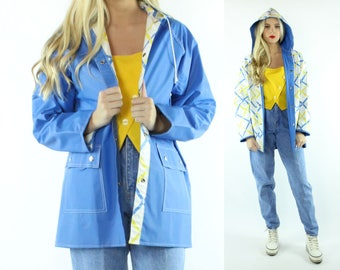80s Reversible Raincoat Hooded Waterproof Jacket Rain Coat Blue Yellow Vitnage 1980s Medium M