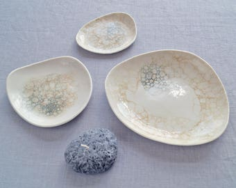 PEBBLE porcelain bowls, peach and grey bubbles, ceramic bowls, candle bowl, jewellery bowl, serving bowl, bathroom accessory