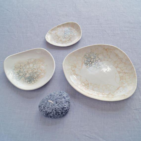 PEBBLE porcelain bowl set, peach and grey bubbles, ceramic bowls, candle bowl, jewellery bowl, serving bowl, bathroom accessory