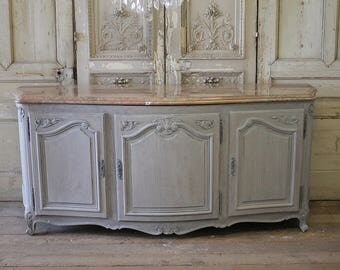 Early 20th Century Louis XV Style French Oak Server with Marble Top