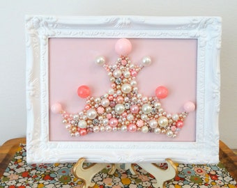 Princess Crown - Cottage Mosaic - Pink and White Nursery Art - Rhinestone, pearl, glitter picture - Sorority Dorm Art - Beaded Wall Hanging