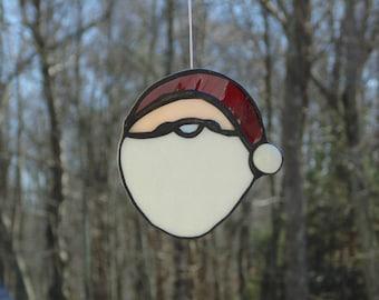 Santa Claus, stained glass suncatcher, Santa face suncatcher, jolly old Saint Nick, christmas ornament, tree decoration