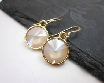 Cream Drops -- Ivory Drop Earrings -- Gold & Cream Earrings -- Ivory Swarovski Earrings -- Off White Dangles -- Ivory Cream Crystal Earrings