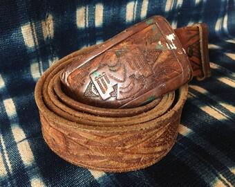 "41-47"" Waist Belt / Vintage Leather Belt / Extra Large Belt / Phoenix Southwestern Statement Belt / Tooled Leather Belt /"