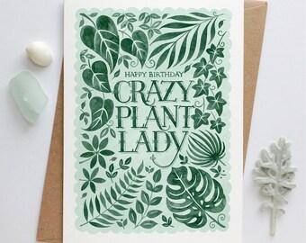 Crazy Plant Lady Birthday Card | House Plant Birthday Card | Tropical Birthday Card | Botanical Birthday Card | Gardeners Birthday Card