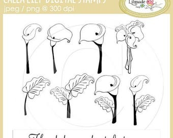 65%OFF SALE Calla lily flower digital stamps, clip art, digital line art, floral digital stamps, calla lily, commercial use clipart, DS22