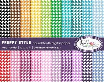 50%OFF Digital paper, houndstooth digital paper, multicolored houndstooth scrapbook paper, preppy style digital paper, scrapbooking, P207