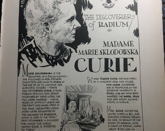 Madame Marie Curie the discoverer of Radium.  book page removed ftom a damaged book. Art  history
