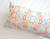 Leslie In Light Blue Lumbar Pillow Cover, Designer Fabric Pillow Cover, Linen Cotton Pillow Cover, 12x21, 14x20, 18x18, 20x20, 22x22, 24x24
