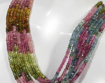 ON SALE Tourmaline Beads Faceted Rondelles Roundels Rondels Multicolor Watermelon Petro Colors Earth Mined Gemstone - 7-Inch Strand - 3mm