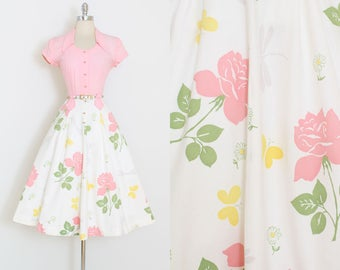 Vintage 40s Dress | vintage 1940s Doris Dodson dress | rose butterfly dragonfly print cotton | xs/s | 5995