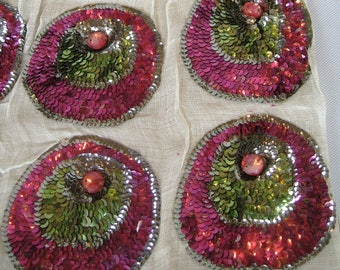 1920s Flapper Sequin Appliques Fuschia Green Flowers
