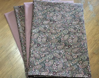 Rose Paisley & Solid Rose Reusable Cloth Napkins Set of 4 Double Sided 100% Cotton Eco Friendly Large 20 x 20