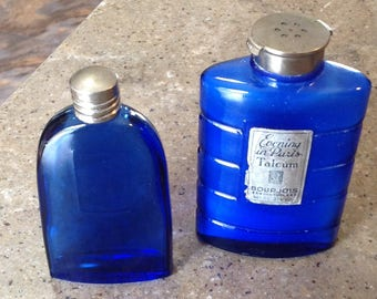 Vintage Evening in Paris Perfume Talc Bourjois Cobalt Blue Vanity Glass Bottle 2 Pcs