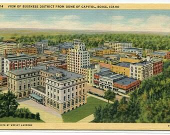 Business District Panorama Boise Idaho linen postcard