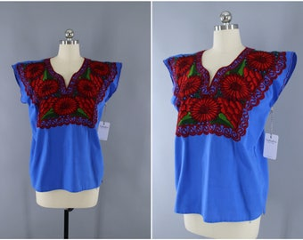 Vintage 1970s Mexican Embroidered Tunic / Blue & Red Floral / Oaxacan Embroidered / Huipil Bohemian / Oaxaca Embroidery
