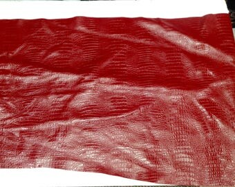 6-749.  Red Embossed Gator Leather Cowhide