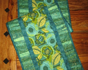 "Quilted Table Runner Amy Butler Modern Abstract Blue Green Yellow Contemporary Flower, Reversible, 13 x 47"" Free Shipping"