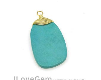 SALE 30% off // 1pc, GE-3610 Gold, Wire wrapped, Chinese Turquoise, Gemstone Pendant, Turquoise Pendant