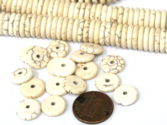 20 Beads - White ivory cream color howlite rondelle flat disc heishi rondelle beads 12 mm size - GM437