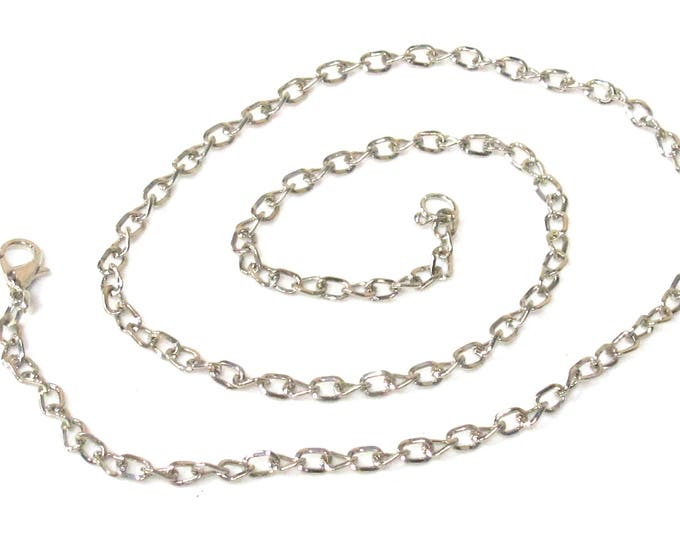 1 chain - 18.5 inches platinum color plated link chain with lobster clasp necklace supply  - LN017