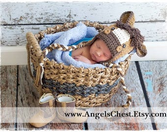Crochet Pony Horse Cowboy Hat Beanie - Photo Prop - Sizes Newborn, baby, toddler, teen. Design by AngelsChest