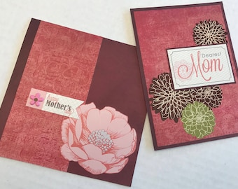 2 Mother's Day Cards, Mother's Day Cards, Dearest Mom, Happy Mother's Day, Christian Cards, Handmade Cards.