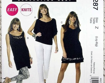 ON SALE McCall's 6287, Misses' Top, Tunic and Dress Sewing Pattern, Easy Sewing Pattern, Misses' Top, Tunic or Dress Pattern, Size L, Xl, Un