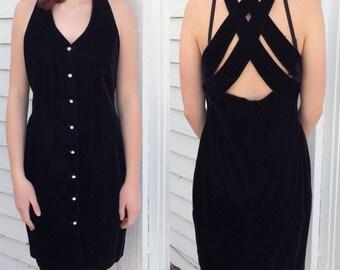 90s Black Velvet Dress Sleeveless Strappy Back Vintage LBD M S