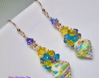 Carribean Blue, Green ,Purple,Yellow,Rose and White Baroque Shaped Lampwork Earrings,  Summer Cluster Earrings in Yellow,Violet,Blue & White