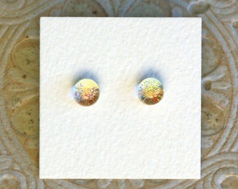 Dichroic Glass Earrings, Petite Gold & Copper Fire  DGE-1048