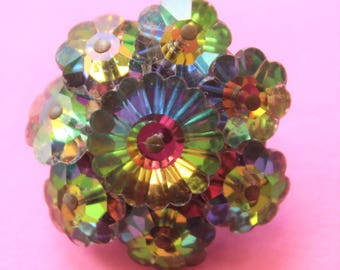 Bright Shiny Fiery 1970's Multi-Color Crystal Flower Pin