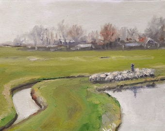 Dutch country with canals and sheep Dutch oil painting 24 x 30 cm