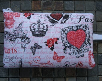 pink paris print large padded bag