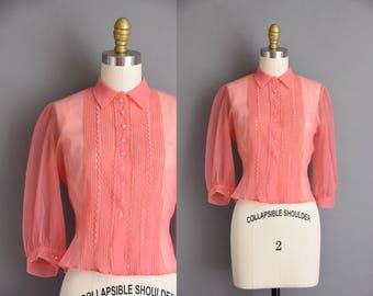 vintage 1950s blouse. bubble gum pink 50s chiffon blouse