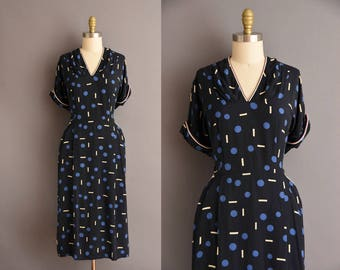 ON LAYAWAY...40s dark navy blue rayon polka abstract print vintage dress. 1940s vintage dress