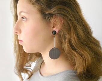 Big orb earrings, Gray Hanging disc dangle Summer party earrings modern geometric Jewelry for her