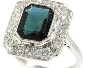 ON SALE Platinum diamond dark blue sapphire ring 1.44ct brilliant cut diamonds 3.30ct sapphire 1950s