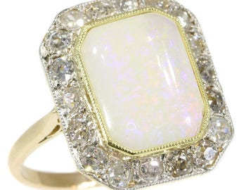 Cabochon opal diamond ring rectangular 18k yellow gold old European cut diamonds 1.40ct Art Deco engagement ring 1920s jewelry