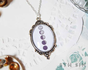 Antique Silver Moon Phases Cameo Necklace, White Moon Phases Necklace, Black Moon Phases Necklace, Full Moon Necklace, New Moon Necklace