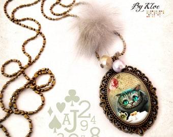 Necklace Cabochon necklace • Alice in wonderland rabbit Wonderland Cheshire Cat •